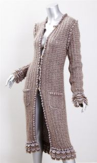 Chanel Womens Tan Taupe Knit Mohair Long Duster Sweater Jacket Cardigan Coat 38
