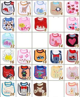New Baby Infant Toddler Boy Girl 3 Layers Waterproof Cute Cartoon Cotton Bibs