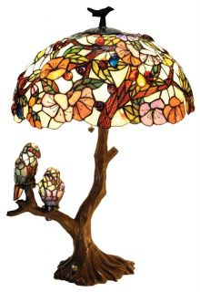 2 Birds Tiffany Style Stained Glass Lamp