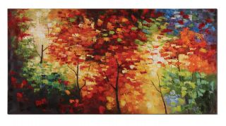 Bright Foliage Oversized Oil Painting Canvas Artwork Wall Art Home Decor