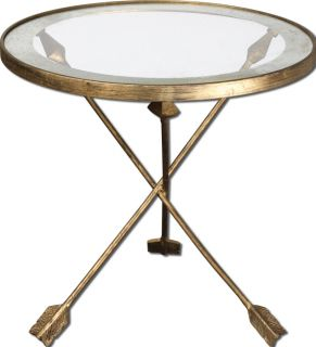 Accent Side End Table Iron Arrow Leg Design Round Glass Top Gold Leaf Finish