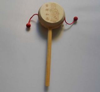 Wooden Rattle Drum Percussion Childrens Musical Fancy Toy Baby Hand Instrument