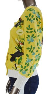 Anthropologie Knitted Dove Yellow Hummingbird Cardigan Size L