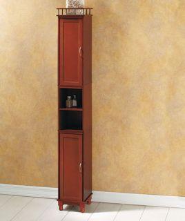 Brown Tall Slimline Wood Tower Storage Cabinet Shelf Kitchen Bath New Home Decor