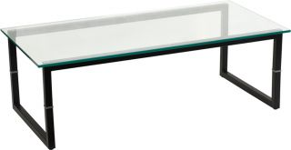 New Clear Glass Black Metal Box Frame Home Office Reception Room Coffee Tables