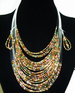 Fashion Beautiful Multi Color Acrylic Beads Layered Big Necklace Earrings