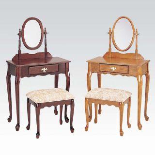 3 Piece Queen Anne Oak Wood Make Up Dressing Table Vanity Set w Mirror Bench