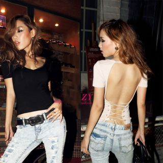 Womens Lace Up Back T Shirt Short Sleeve Tops Blouse Deep V Neck Shirt Hot Sexy