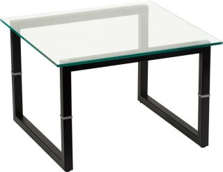 New Clear Glass Black Metal Box Frame Home Office Reception Room Corner Tables