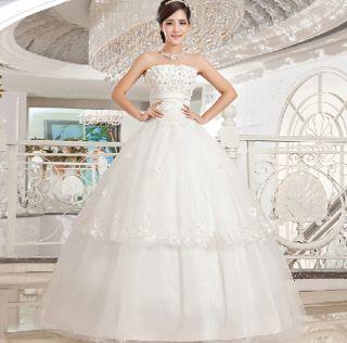 Women's Bra Type Sleeveless Bandage Strapless Bridal Gown Dress Wedding Dress