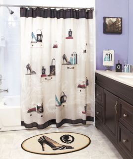 Halloween haunted house bath shower curtain rug pump set for Fashion bathroom set