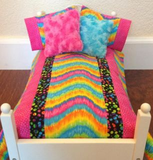 "7 Piece Doll Bedding Set Handmade to Fit Any 18"" Doll Bed American Made"