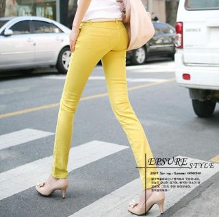 Women Sexy Candy Colors Pencil Pants Slim Fit Skinny Stretch Jeans Trousers Hot