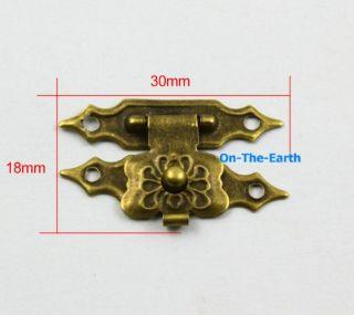 10 Antique Brass Decorative Hasp Jewelry Box Hasp Lock Latch 30x18mm with Screws