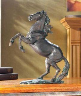 Rearing Horse Statue Figurine Bronze Finish