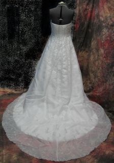 Venus White Silver Wedding Gown Embroidered Removable Coat Train Sz 12 $747 L173