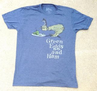 Dr Seuss Green Eggs and Ham Classic Blue Tee Shirt by Hybrid Youth Large