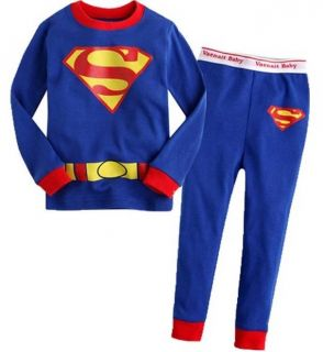New Superman Baby Kids Boys Girls Pajamas Set Clothes Outfits Suits Age 2T