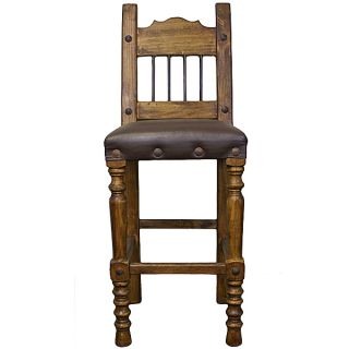 "30"" Torno Barstool with Leather and Iron Real Wood Free Shipping Rustic Western"