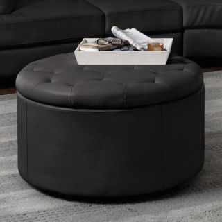 5 Pecs Round Leather Seating Accent Bench Ottoman Storage Sofa Stool Living Room