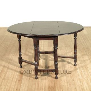 4ft Antique English Solid Oak Dropleaf Gateleg Oval Dining Table c1940's P92