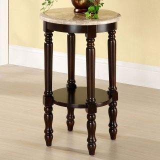 Delicate Marble Top Round Shelf Accent Side Espresso Table Plant Telephone Stand