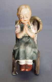 Vtg Bisque Porcelain Girl Sitting on A Chair Praying Figurine Unknown