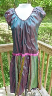 Baba Los Angeles Colorful Drop Waist Shimmering Festival Mardi Gras Dress Sz L
