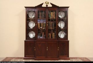 Georgian 1880 Antique Breakfront Bookcase or China Cabinet