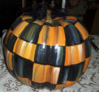 3 Pumpkin Artsy Check Harlequn w Mackenzie Childs Courtly Check Ribbon Bows