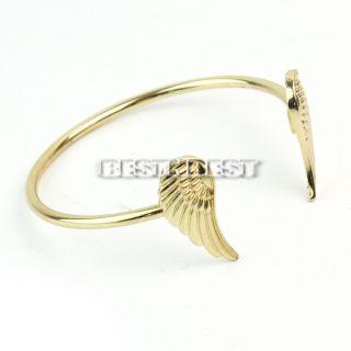 Womens Fashion Punk Style Double Gold Plated Angel Wings Cuff Bracelet Bangle
