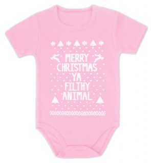 Ugly Sweater Merry Christmas Ya Filthy Animal Baby Onesie Grow Gift Boy Girl Mom