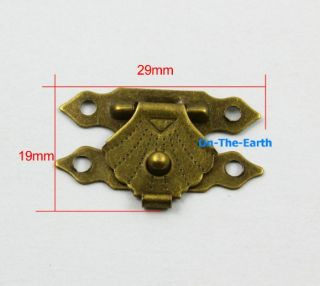 10 Antique Brass Decorative Hasp Jewelry Box Hasp Lock Latch 29x19mm with Screws