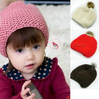 Baby Girls Cute Knitted Beanie Winter Warm Hat Cap with Cony Wool Pom Hat 1124