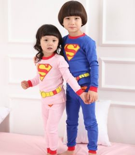 Hot Superman Baby Kids Boys Girls Pajamas Set Clothes Outfits Suits Age 2 7Years