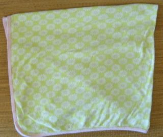 Carters OS Green Pink Flowers Daisy Baby Girl Security Blanket Cotton