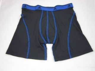 Mens Adidas ClimaLite Sport Boxer Brief Underwear Black Blue Gym Run Tennis MD