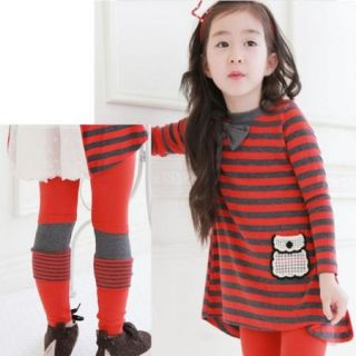 Girls Kids Party Striped Tops Shirt Dress Leggings Bow 2pcs Clothes 4 5Y Outfits