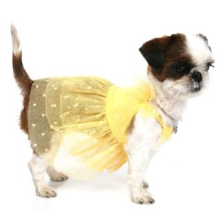 Pupumer Fairy Ballet Tutu Dress Dog Clothes Pink Yellow