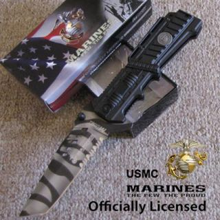"USMC Marines ""Liberty II"" Tactical Spring Assisted AO Folding Knife Urban OL"