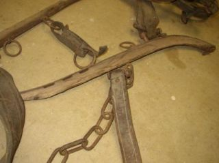 Antique Horse Harness Lot Yoke Bridle Single Tree hame F