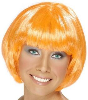 Ladies Short Orange Bob Wig Babe 20s 60s Fancy Dress
