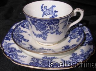 George Jones Swansea Cobalt Blue White Teacup Trio Tea Cup Saucer and Plate