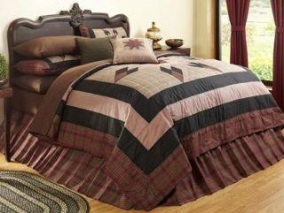 Big Sky Eight Point Star 5 PC Queen Bedding Set Quilt Sham Bedskirt Decor Pillow