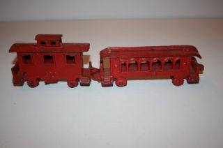 Antique Cast Iron Train Cars Passenger Caboose Red 403