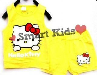 Hello Kitty Girls Outfit Yellow Shorts Tshirt Leisure Suit Set Baby Neon Top UK