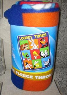 New Looney Tunes Fleece Blanket Gift Tweety Taz Marvin