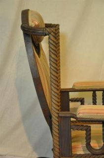 Original George Hunzinger Barley Twist Oak Platform Rocker Rocking Chair 1890'S
