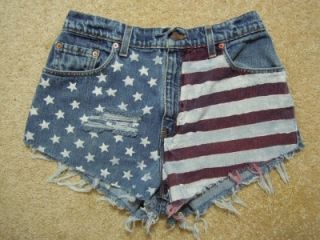 American Flag Hand Painted High Waist Levis Cut Off Shorts Size 29
