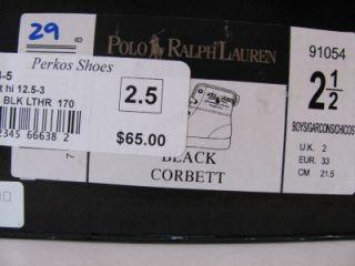 Polo Ralph Lauren Boys Black Leather High Top Tennis Shoes Sz 2 5 29